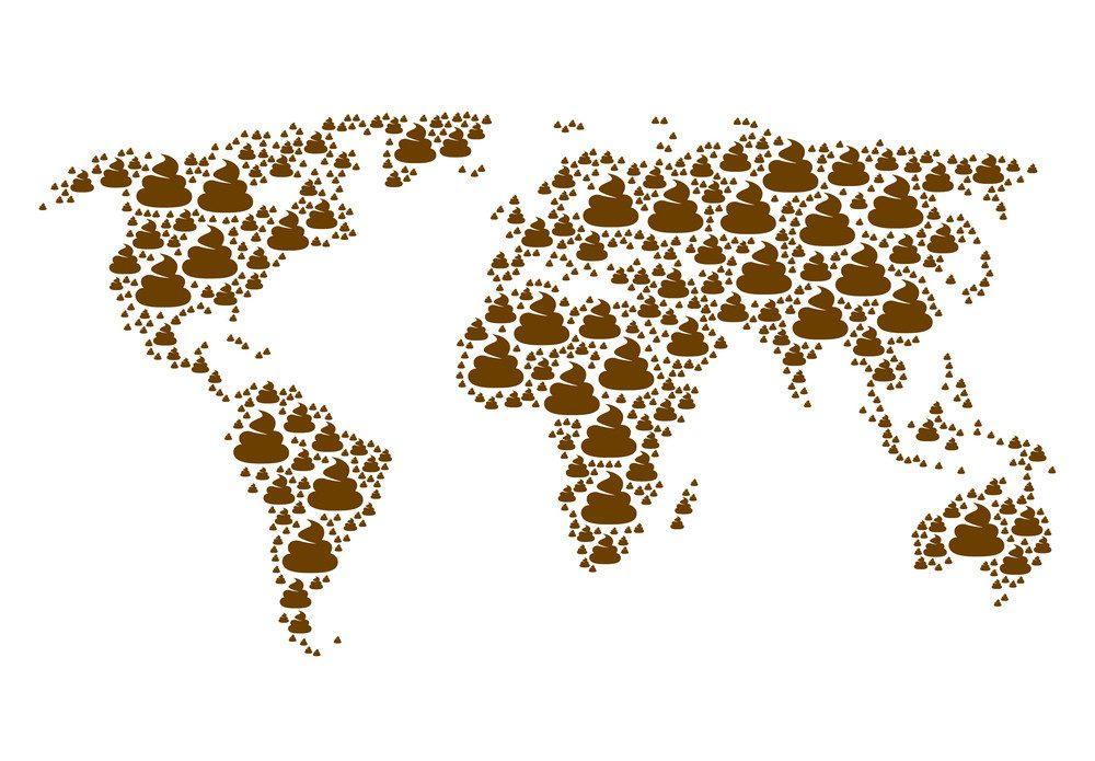 mappa mondo fatta di sterco